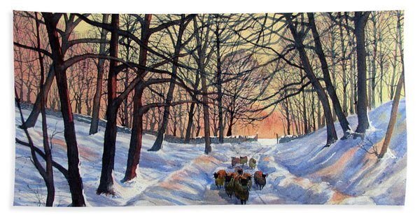 Evening Glow On A Winter Lane Hand Towel