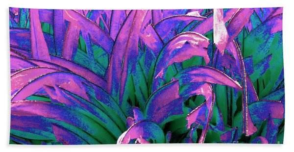 Bath Towel featuring the painting Expressive Abstract Grass Series A1 by Mas Art Studio