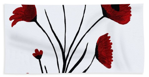 Bath Towel featuring the painting Expressive Abstract Poppies A61216b_e by Mas Art Studio