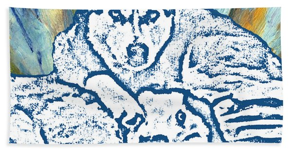 Bath Towel featuring the painting Expressive Huskies Mixed Media F51816 by Mas Art Studio