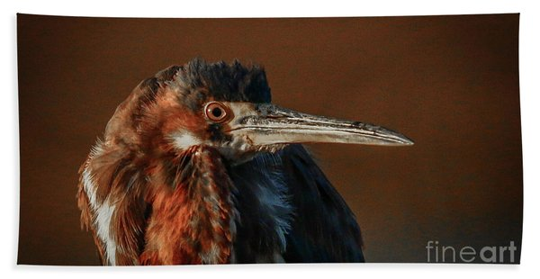 Bath Towel featuring the photograph Eye To Eye With Heron by Tom Claud