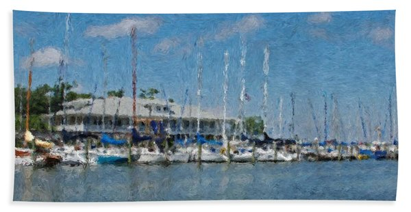 Fairhope Yacht Club Impression Bath Towel