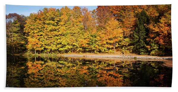 Fall Ontario Forest Reflecting In Pond  Hand Towel