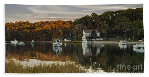 Fall Sunset In Centerport  Hand Towel