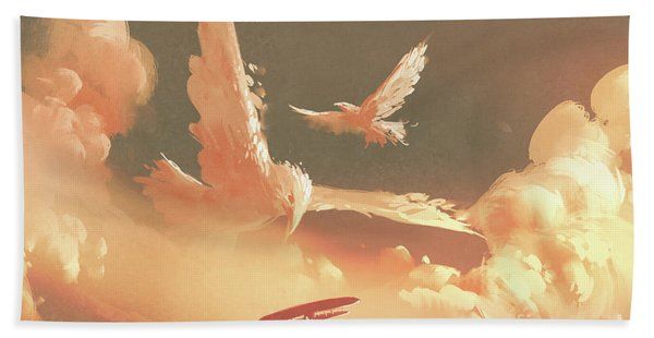 Hand Towel featuring the painting Fantasy Sky by Tithi Luadthong