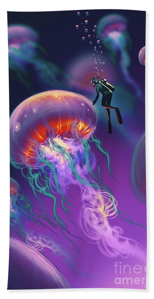 Hand Towel featuring the painting Fantasy Underworld by Tithi Luadthong