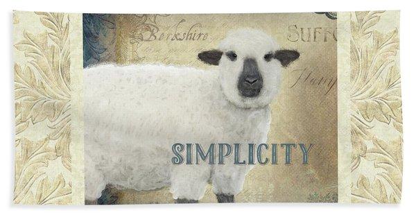Farm Fresh Damask Sheep Lamb Simplicity Square Bath Towel