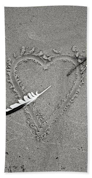 Feather Arrow Through Heart In The Sand Hand Towel