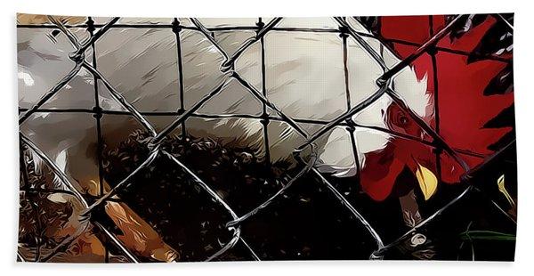 Fenced In Chicken Art By Lesa Fine Bath Towel
