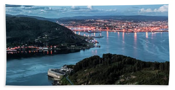 Ferrol's Estuary Panorama From La Bailadora Galicia Spain Bath Towel
