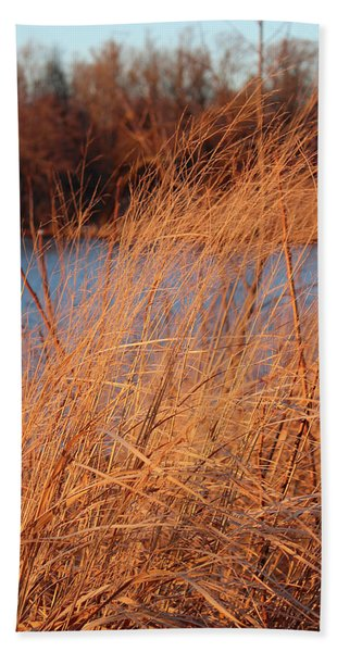 Amber Brush On The River Hand Towel