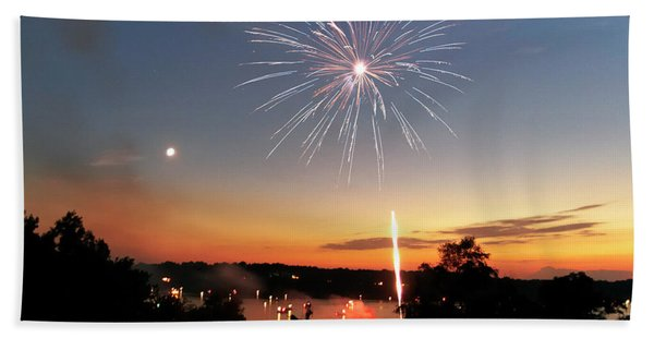 Fireworks And Sunset Bath Towel