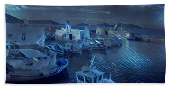 Hand Towel featuring the photograph Fish Harbour Paros Island Greece by Colette V Hera Guggenheim