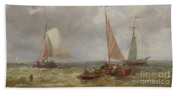 Fishing Boats At Sea Bath Towel
