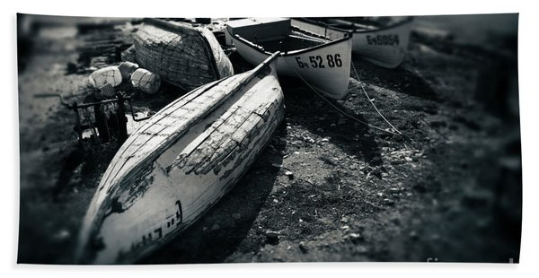 Fishing Boats At The Old Port Hand Towel