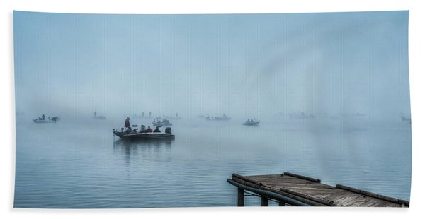 Fishing In The Fog Summersville Lake  Hand Towel