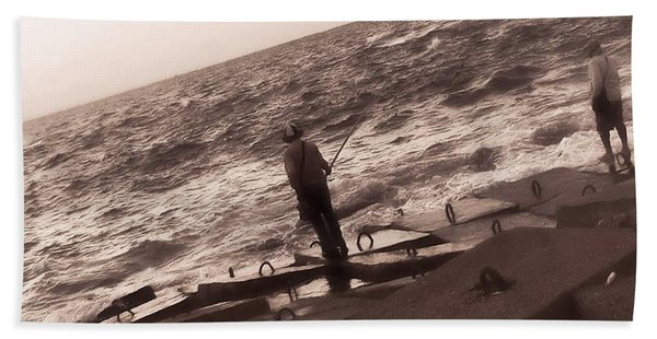Men Fishing, Alexandria, Egypt Hand Towel