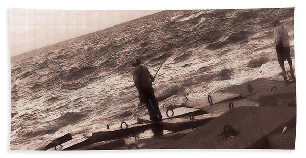 Men Fishing, Alexandria, Egypt Bath Towel