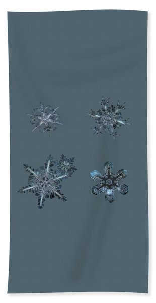 Five Snowflakes On Black 3 Hand Towel