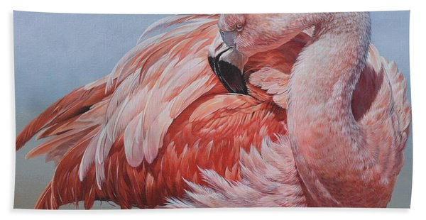 Flamingo Preening Bath Towel