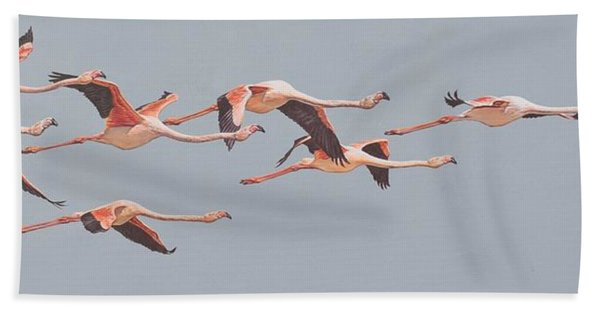 Flamingos In Flight Bath Towel