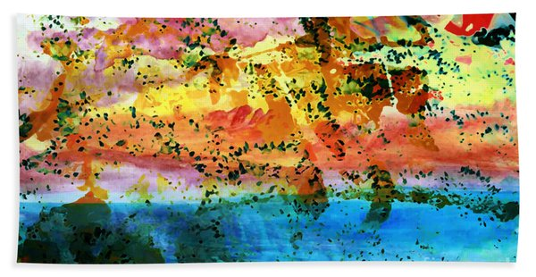 Bath Towel featuring the painting Rustic Landscape Abstract  D2131716 by Mas Art Studio