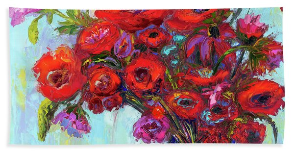 Red Poppies In A Vase, Summer Floral Bouquet, Impressionistic Art Bath Towel