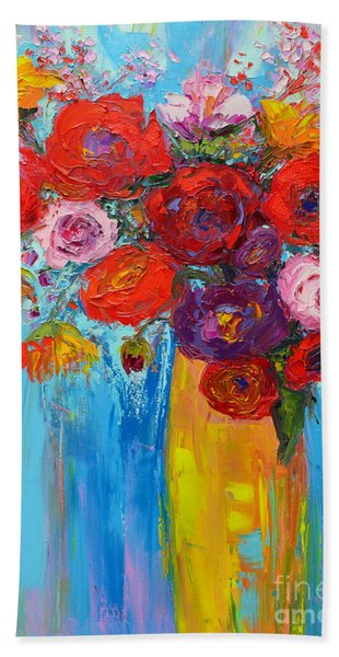 Wild Roses And Peonies, Original Impressionist Oil Painting Bath Towel