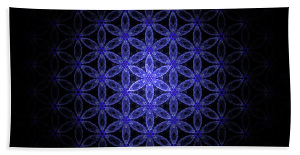 Flower Of Life In Blue Bath Towel