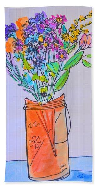 Flowers In An Orange Mason Jar Bath Towel