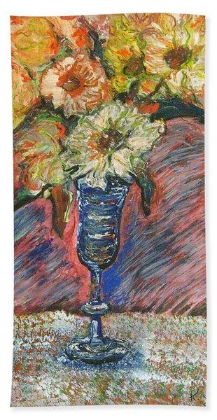 Flowers In Wine Glass Bath Towel