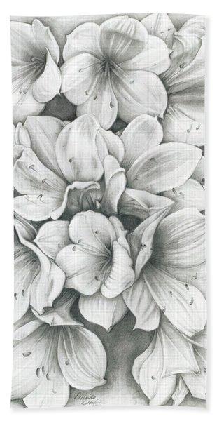 Clivia Flowers Pencil Hand Towel
