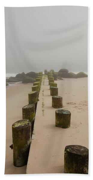 Fog Sits On Bay Head Beach - Jersey Shore Bath Towel