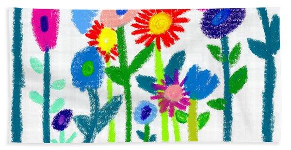 Bath Towel featuring the pastel Folk Garden by Bee-Bee Deigner