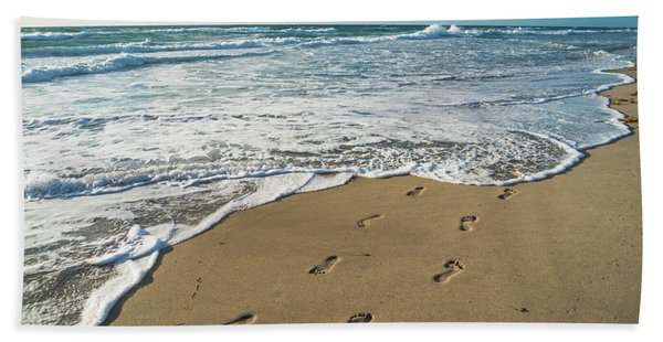 Footprints In The Sand Delray Beach Florida Bath Towel