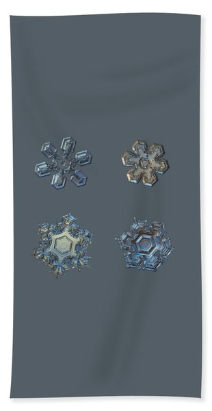 Four Snowflakes On Black 2 Hand Towel
