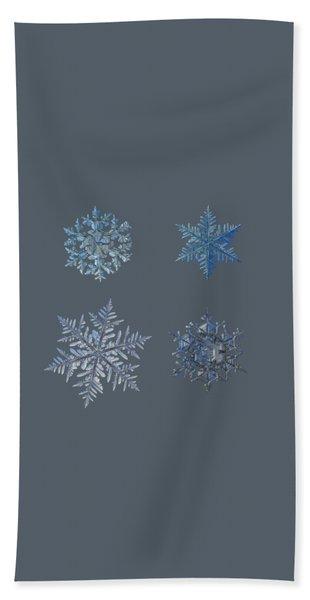 Four Snowflakes On Black Background Bath Towel