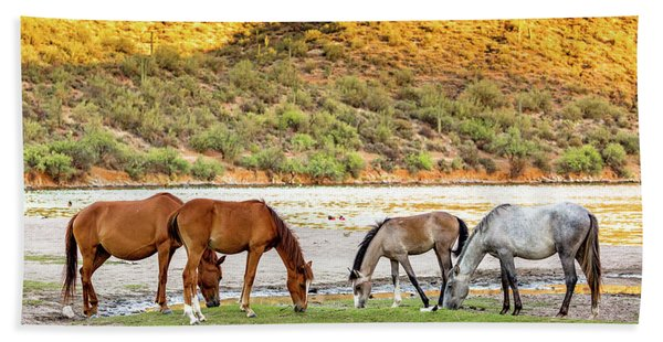 Four Wild Horses Grazing Along Arizona River Hand Towel