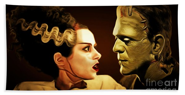 Frankenstein And The Bride I Have Love In Me The Likes Of Which You Can Scarcely Imagine 20170407 Bath Towel