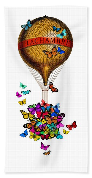 French Hot Air Balloon With Rainbow Butterflies Basket Hand Towel