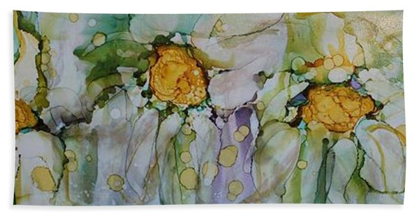 Hand Towel featuring the painting Fresh As A Daisy by Ruth Kamenev
