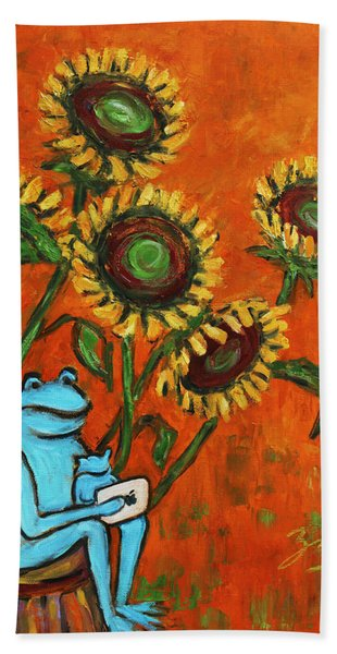 Frog I Padding Amongst Sunflowers Bath Towel