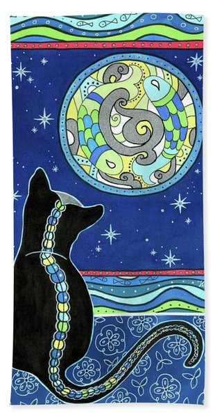 Pisces Cat Zodiac - Full Moon Bath Towel