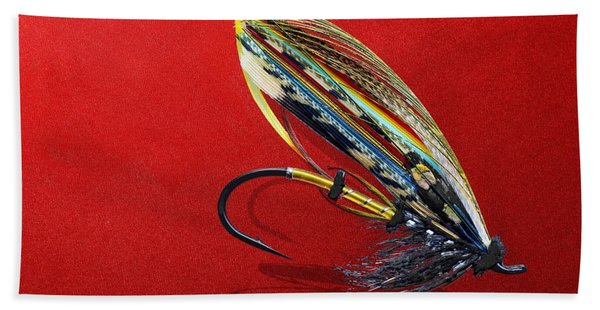 Fully Dressed Salmon Fly On Red Bath Towel