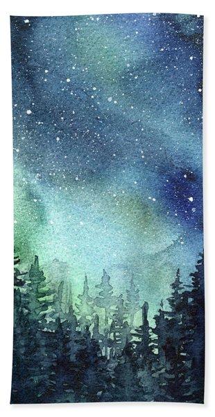 Galaxy Watercolor Aurora Painting Hand Towel