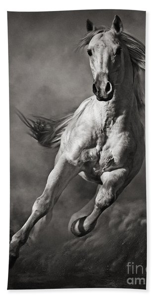 Galloping White Horse In Dust Bath Towel