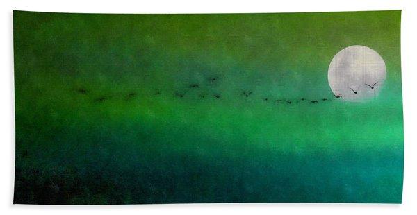 Geese In Flight  Bath Towel