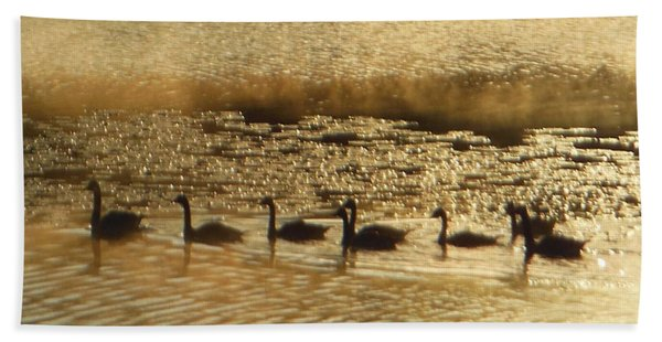 Geese On Golden Pond Bath Towel