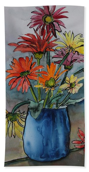 Hand Towel featuring the painting Gerberas In A Blue Pot by Ruth Kamenev
