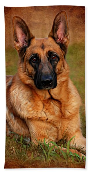 German Shepherd Dog Portrait  Bath Towel